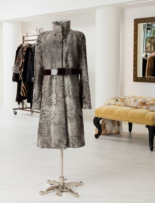 Swakara Coat With Patent Leather Belt