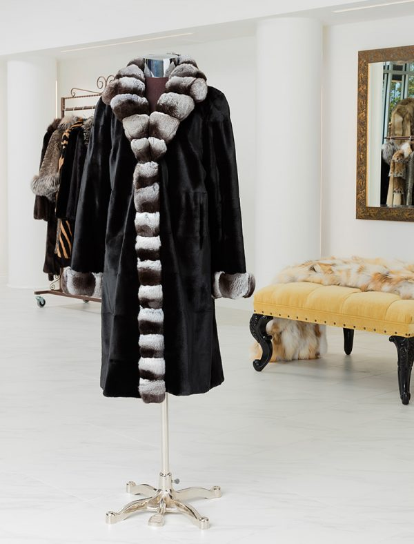 Reversible Sheared Mink Coat With Chinchilla Trim