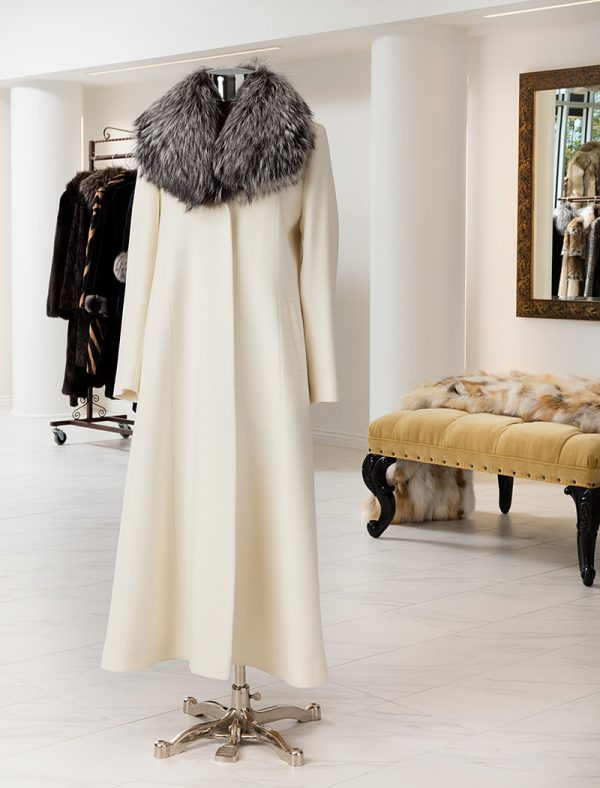 Wool Coat With Fox Collar